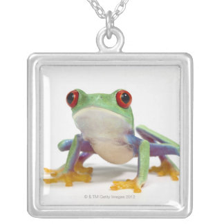 Female frog 2 silver plated necklace