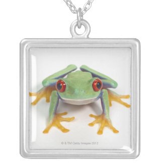 Female frog silver plated necklace