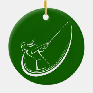 Female Golf Swing Christmas Ornament
