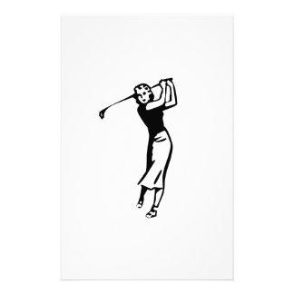 Female Golfer Golfing Personalized Stationery