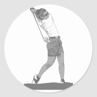 Female Golfer Round Sticker