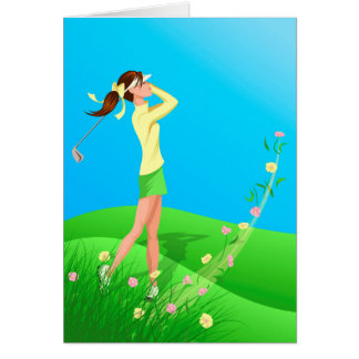 Female Golfer Spring Greeting Card