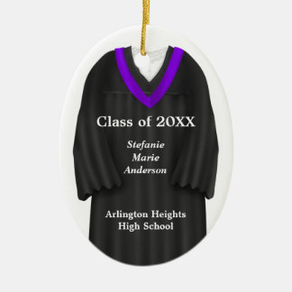 Female Grad Gown Black and Purple Ornament