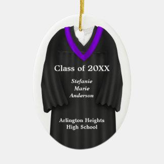Female Grad Gown Black and Purple Ornament