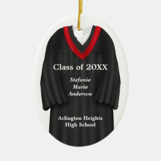 Female Grad Gown Black and Red Ornament