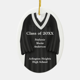 Female Grad Gown Black and White Ornament