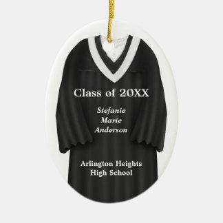 Female Grad Gown Black and White Ornament