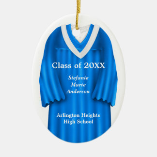 Female Grad Gown Blue and White Ornament