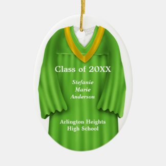 Female Grad Gown Green and Gold Ornament
