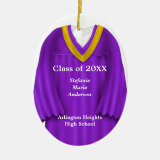 Female Grad Gown Purple and Gold Ornament