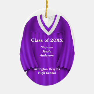 Female Grad Gown Purple and White Ornament