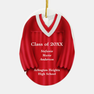 Female Grad Gown Red and White Ornament