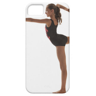 Female gymnast (12-13) balancing on one leg case for the iPhone 5
