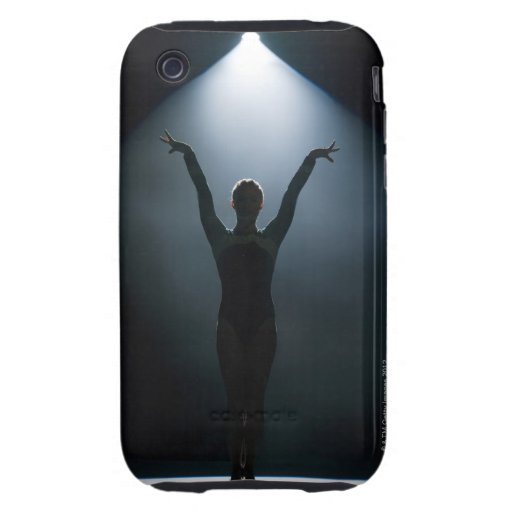 Female gymnast performing in spotlight, studio iPhone 3 tough cases