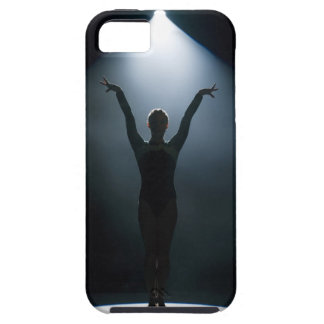 Female gymnast performing in spotlight, studio tough iPhone 5 case