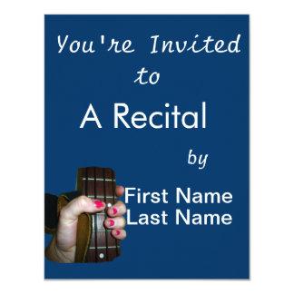 Female hand holding four string bass neck 11 cm x 14 cm invitation card