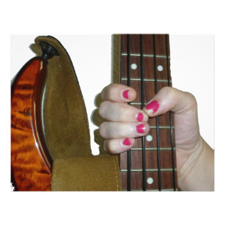 female hand holding four string bass neck flyers