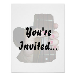 Female hand holding four string bass neck personalized invite