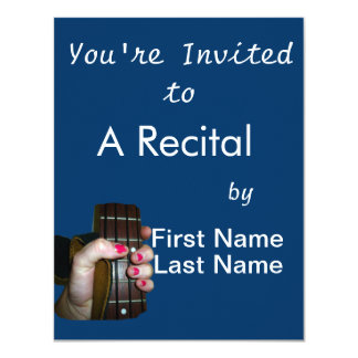 """Female hand holding four string bass neck 4.25"""" x 5.5"""" invitation card"""