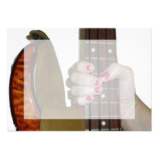 female hand holding four string bass neck custom announcement