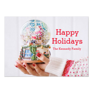Female hands holding snowglobe/snowdome card