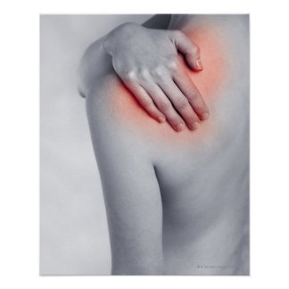 Female hands holding the shoulder and massaging poster