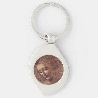 Female Head La Scapigliata by Leonardo da Vinci Silver-Colored Swirl Key Ring
