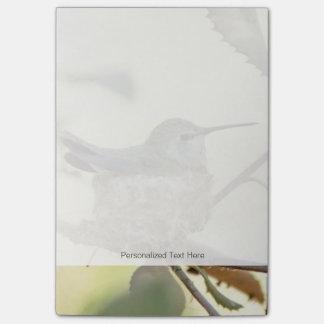 Female hummingbird on her nest post-it notes