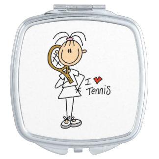 Female I Love Tennis Travel Mirror