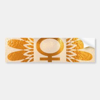 Female Icon Symbol : Golden Sunflower Energy Bumper Sticker