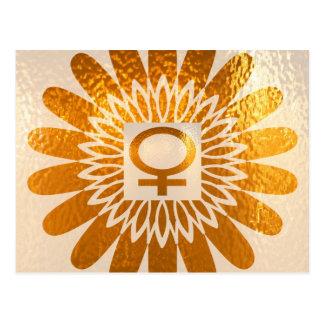 Female Icon Symbol : Golden Sunflower Energy Postcard