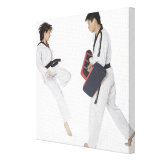 Female karate instructor teaching martial arts canvas print