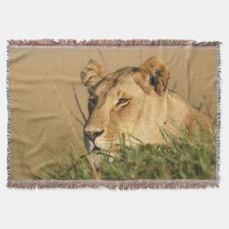 Female Lion Throw Blanket