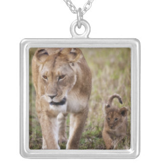 Female Lion with cub (Panthera Leo) as seen in Silver Plated Necklace
