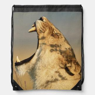 Female Lion yawning Drawstring Bag