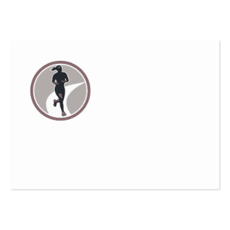 Female Marathon Runner Run Retro Business Cards