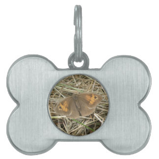 Female Meadow Brown Butterfly Pet Tag