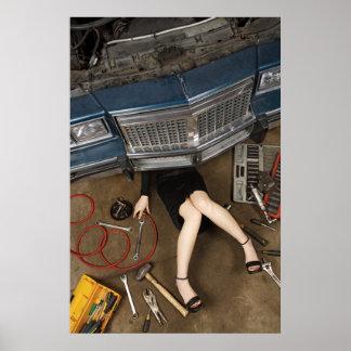 female mechanic fixing stuff poster
