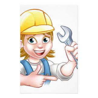 Female Mechanic or Plumber Cartoon Character Custom Stationery