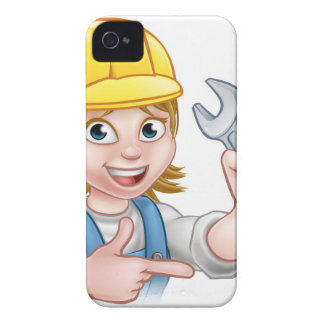 Female Mechanic or Plumber Cartoon Character iPhone 4 Case-Mate Cases