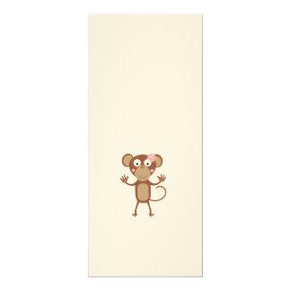female monkey with flower 10 cm x 24 cm invitation card