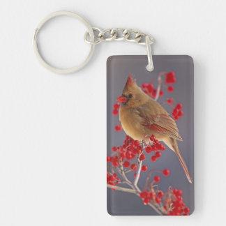 Female Northern Cardinal among hawthorn Double-Sided Rectangular Acrylic Key Ring
