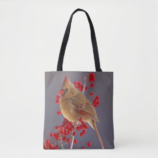 Female Northern Cardinal among hawthorn Tote Bag