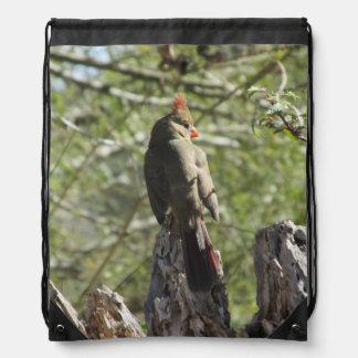 Female Northern Cardinal Cinch Bags