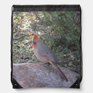 Female Northern Cardinal Drawstring Backpack