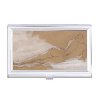 Female Nude Composition Lying in Bed Business Card Holders