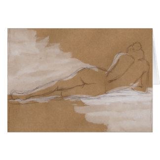 Female Nude Composition Lying in Bed Card