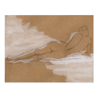 Female Nude Composition Lying in Bed Postcard