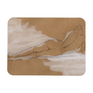 Female Nude Composition Lying in Bed Rectangular Photo Magnet