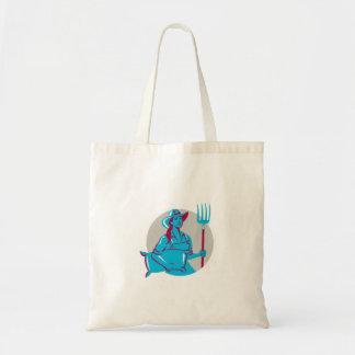 Female Organic Farmer Sack Pitchfork Circle Retro Budget Tote Bag